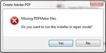 acrobat pdf maker not working