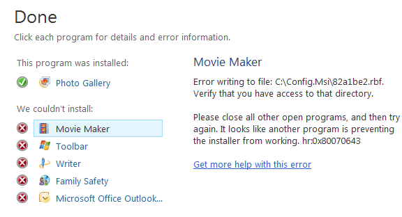 Microsoft movie maker errors